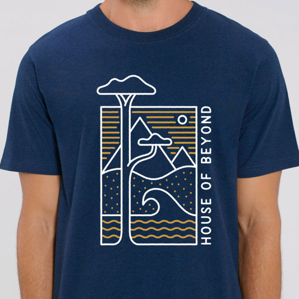 House of Beyond black heather blue T Shirt hem tag1