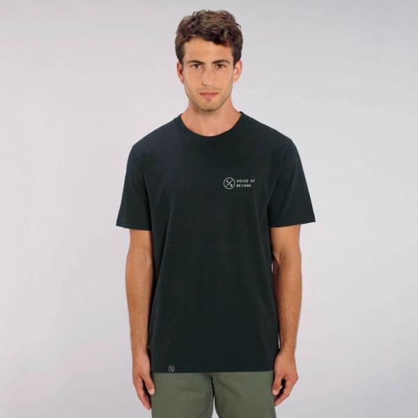House of Beyond signature black T Shirt hem tag