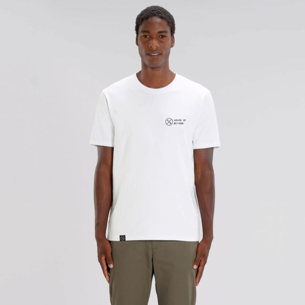 House of Beyond signature white T Shirt hem tag